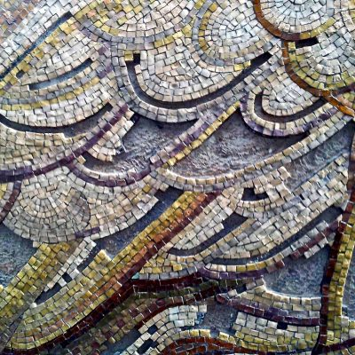 Figure 10 Detail of the left side section of the mosaic after removal of the disintegrated smalti