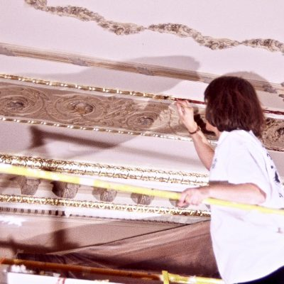 Figure 10 Library ceiling during restoration of the architectural elements and surfaces