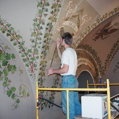 Figure 12 During restoration of one original decorative panel (mural)
