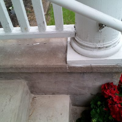Figure 12 Actual condition of the front entrance column and railing
